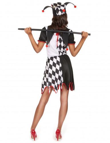 Harlekin-Damenkostüm schwarz-weiss-rot-2