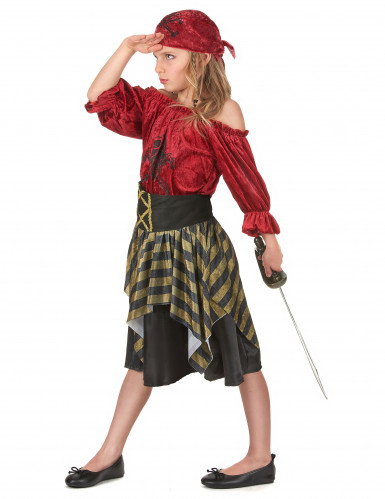 Piraten Kinderkostüm für Mädchen schwarz-rot-goldfarben-1