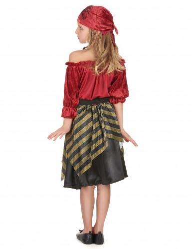 Piraten Kinderkostüm für Mädchen schwarz-rot-goldfarben-2