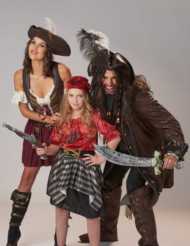 Piraten Kinderkostüm für Mädchen schwarz-rot-goldfarben-3