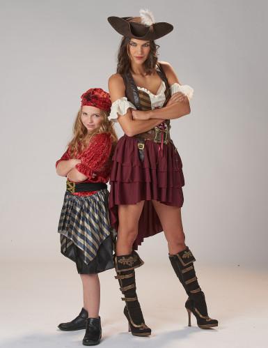 Piraten Kinderkostüm für Mädchen schwarz-rot-goldfarben-4