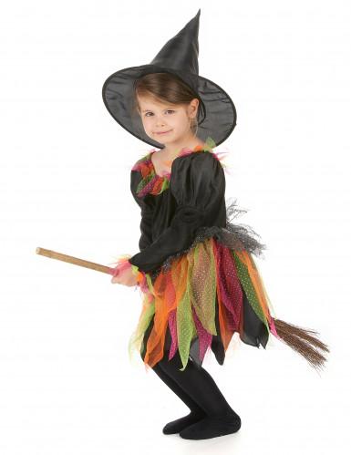 Halloween Hexenkostüm für Mädchen bunt-1