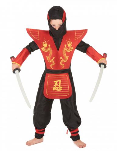Ninjakostüm für Kinder schwarz-rot-gelb