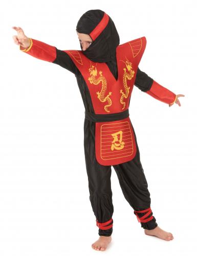 Ninjakostüm für Kinder schwarz-rot-gelb-1