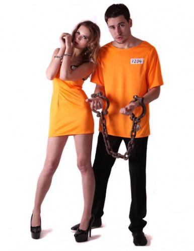 Sträflinge-Gefangenen Paarkostüm für Erwachsene orange