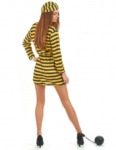 Gelbes Sträflings-Kostüm für Damen-2