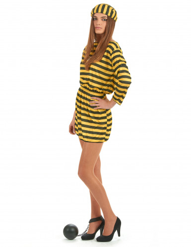 Gelbes Sträflings-Kostüm für Damen-1