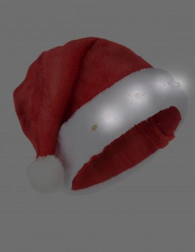 Leuchtende Nikolausmütze Weihnachtsmütze rot-weiss-1