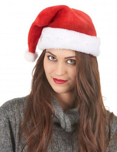 Leuchtende Nikolausmütze Weihnachtsmütze rot-weiss-2
