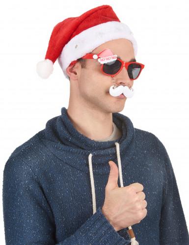 Leuchtende Nikolausmütze Weihnachtsmütze rot-weiss-3