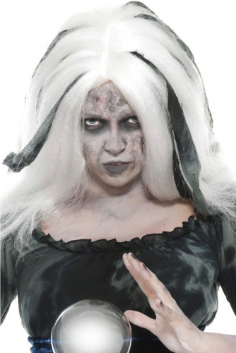 Weiße Wahrsagerin Halloweenperücke für Damen