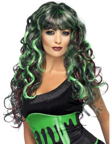 Grün-schwarze Seejungfrau-Perücke für Damen