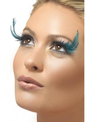 Falsche Wimpern mit blauen Feder für Damen