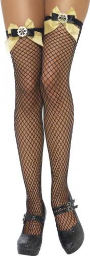Netztrümpfe schwarz Steampunk für Damen