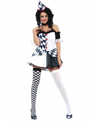 Sexy Harlekin Kostüm für Damen schwarz-weiss-rot