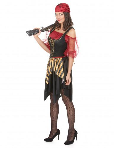 Freibeuter-Piraten Kostüm für Damen schwarz-gelb-rot-1