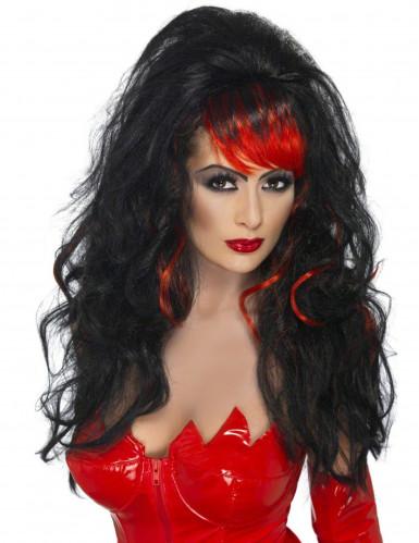 schwarze Langhaarperücke Halloween für Damen