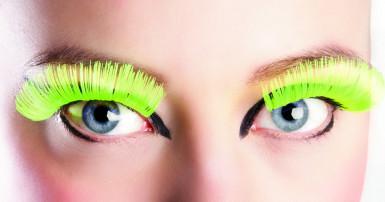 Falsche neongelbe Wimpern für Frauen