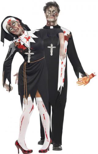 Zombie Priester und Nonne Halloween Paarkostüm