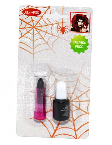 Schwarzer Halloween Nagellack und Lippenstift für Erwachsene.-1