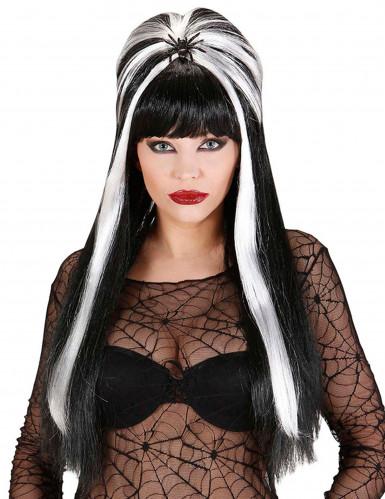 Perücke schwarz weiß Halloween für Erwachsene
