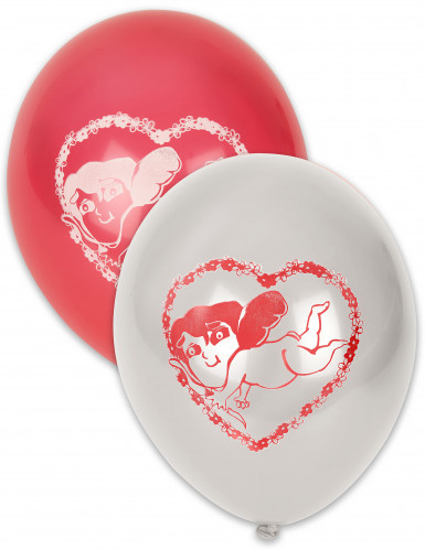 10 Rote und Weiße Cupidon-Luftballons