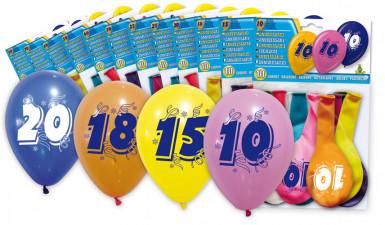 8 Luftballons bedruckt mit Zahl 20