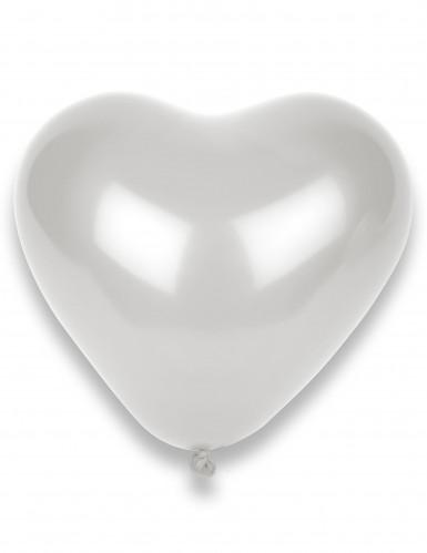 8 weiße Herz-Luftballons