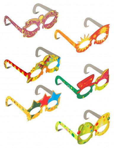6 Harlekin-Augenmaske in verschiedenen Motiven aus Papier