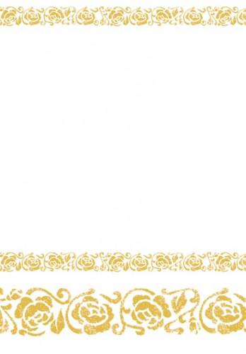wei e tischdecke mit goldverzierung partydeko und. Black Bedroom Furniture Sets. Home Design Ideas