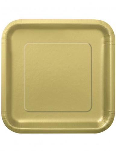 14 große goldene Pappteller