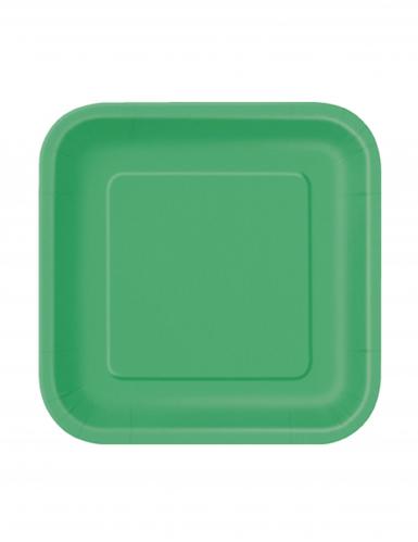 16 kleine smaragdgrüne Pappteller