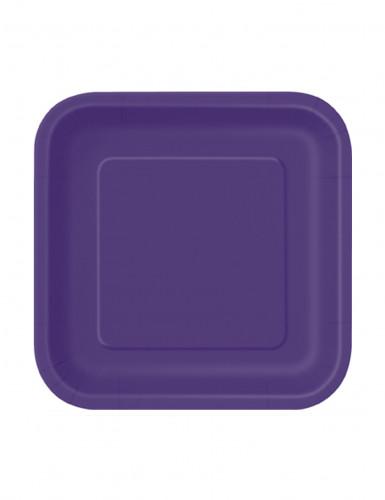 16 kleine quadratische Pappteller in violett 18 cm