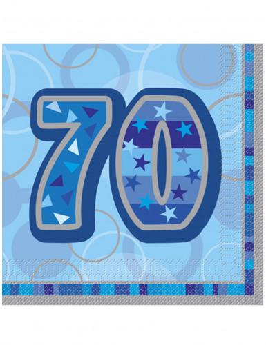 16 Papier Servietten 70. Geburtstag blau