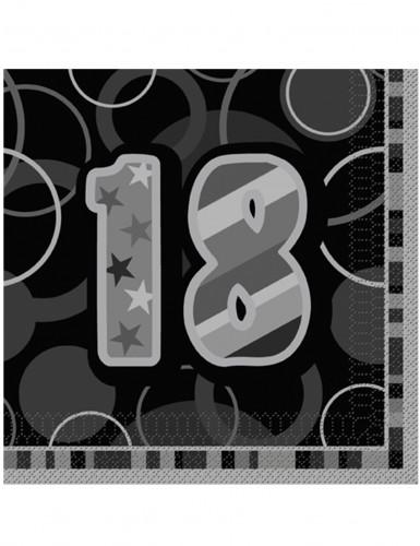 16 Papier Servietten 18 Jahre schwarz-grau Geburtstagsparty