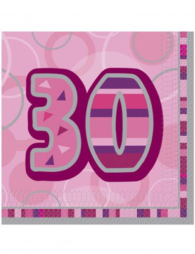 16 rosa Papierservietten, Alter 30, 33 x 33 cm
