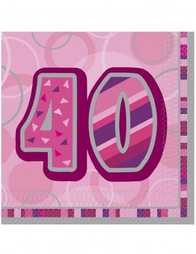 16 Papierservietten 40 Jahre in Rosa
