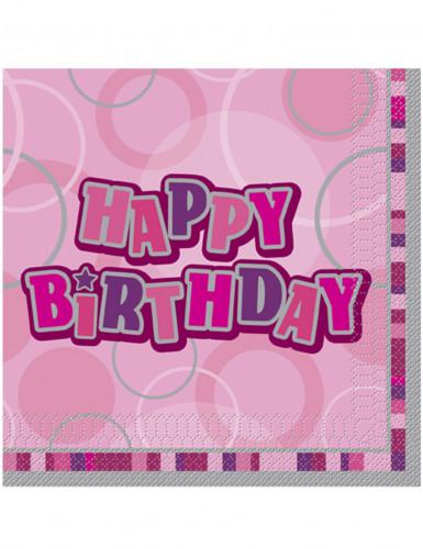16 rosa Happy Birthday Papier Servietten