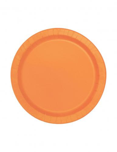 Orange Pappteller rund