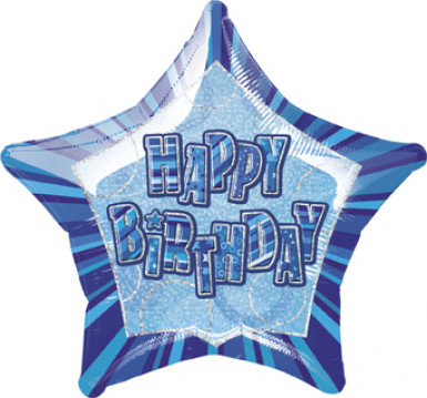 Happy Birthday Sternballon in Blau