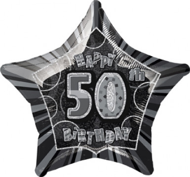 Alu-Luftballon Stern 50. Geburtstag - grau