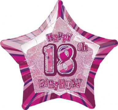 Stern-Luftballon - 18. Geburtstag - rosa