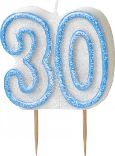 Kerze - Zahl 30 in blau