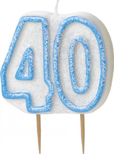 Kerze - Zahl 40 in blau