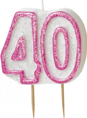 Kerze - Zahl 40 in rosa