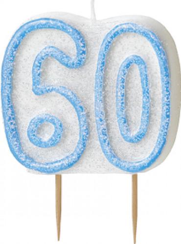 Kerze - Zahl 60 in blau
