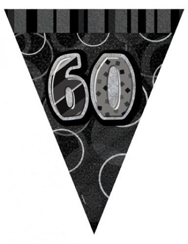 Wimpel-Girlande - schwarz Zahl 60