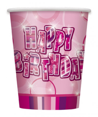8 Happy Birthday-Becher - rosa