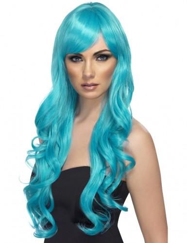 Blau-türkisfarbene Langhaarperücke für Damen