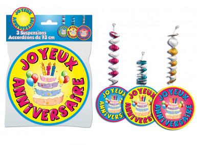 3er-Set farbenfrohe Geburtstagsdekoration